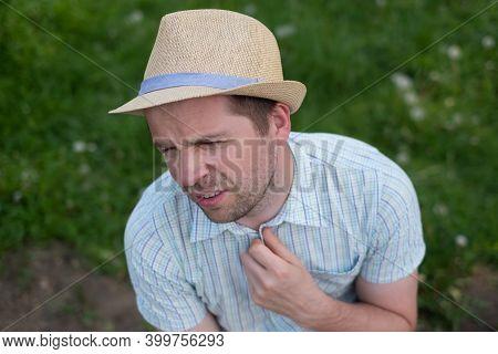 Stressed Man Sweating Suffering Heat Stroke A Warm Day In Summer