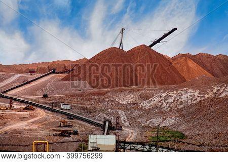 Artificial Mountains From Empty Rocks When Mining Potassium. Transportation Of An Empty Rock. Belaru