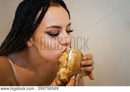 Woman Biting Big Burger, Addicted To Unhealthy Junk Food, Overeating