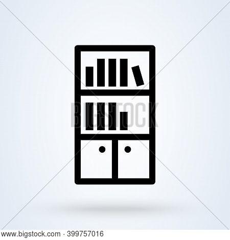 Bookshelf Sign Icon Or Logo. Books On The Shelves Concept. Library Bookshelf Vector Illustration.