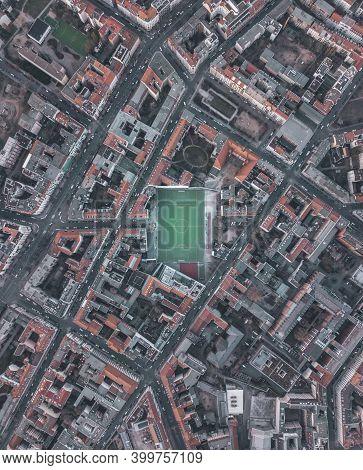 Soccerfield Football Field In Urban City Residential Neighborhood Of Berlin, Germany, Aerial Birds E