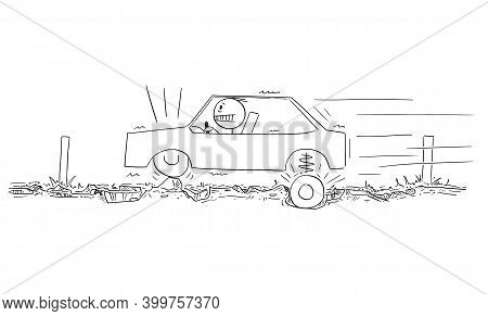 Vector Cartoon Stick Figure Illustration Of Driver Driving Car On Very Bad Road With Asphalt Full Of