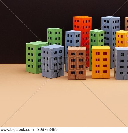 Abstract Town Houses On Black Beige Background. Night City Architecture Landscape, Simplified Urban