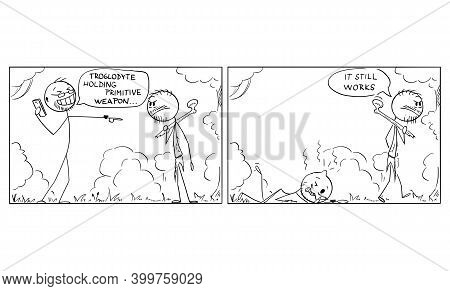 Vector Cartoon Stick Figure Illustration Of Modern Western Man, Scientist Or Tourist Mocking To Nati