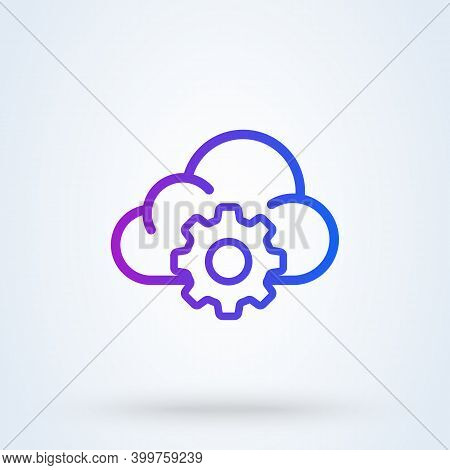 Cloud Storage Settings Sign Line Icon Or Logo. Web Hosting Preferences Concept. Cloud Security Confi