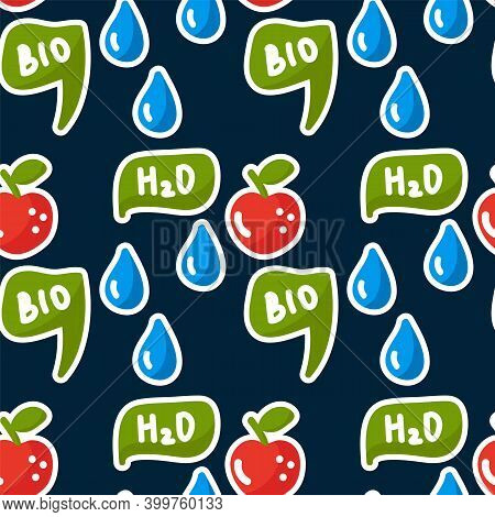 Cute Energy Saving Background. Natural Energy Sources Water, Eco, Bio, Drops. Characters Doodle In C