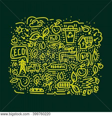 Energy-saving Doodle Poster. Icon Line Cute Background. Renewable Energy Sources Hand-drawn For Envi