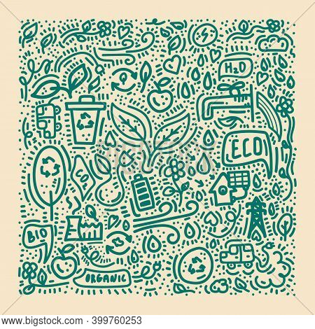 Energy-saving Poster. The Doodle Line Icon. Renewable Energy Sources Hand-drawn For Environmentalist