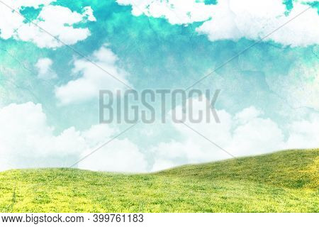 Abstract illustration of distressed overlay texture against green grass and clouds in blue sky in background. background with abstract texture concept