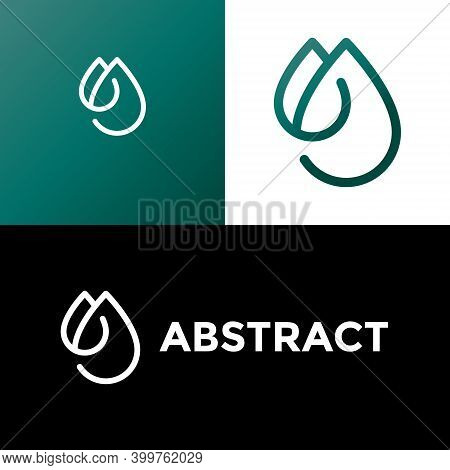Creative Waterdrop Logo Designs By M Letter Vector Template Linear Style. Oil Company Icon Droplet L