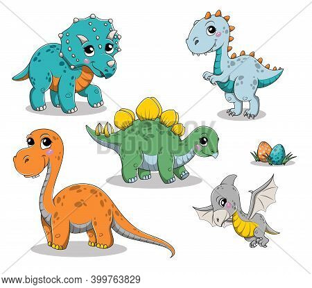 Set Of Isolated Funny Cartoon Dinosaurs. Vector Illustration Isolated On White Background