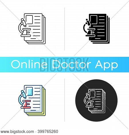 Diagnostic Test Icon. Examining, Assessing And Diagnosing Illnesses, Conditions In Patients. Laborat