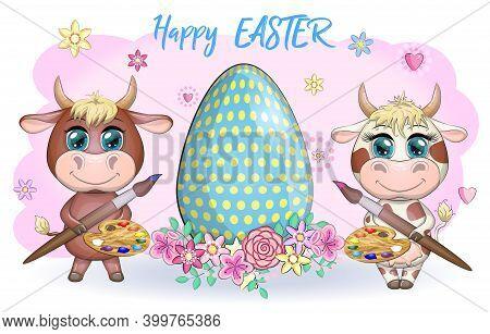 Cute Cartoon Cow And A Bull With An Easter Egg, Symbol 2021 On The Eastern Calendar