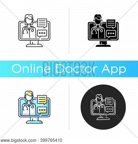 Chat Consultation Icon. Personalized Care For Urgent And On-going Medical Conditions. Messaging Betw