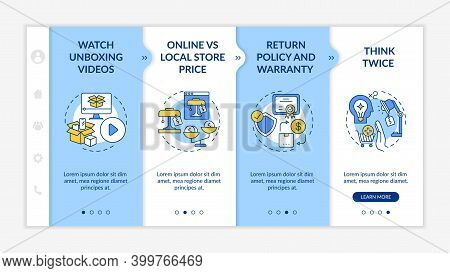 Informed Shopper Advices Onboarding Vector Template. Return Policy, Warranty. Thinking Twice. Respon