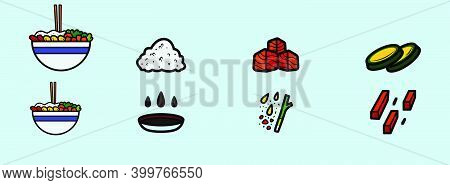 Set Of Poke Bowl Cartoon Icon Design Template With Various Models. Modern Vector Illustration Isolat