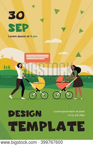 Two New Moms Walking Together. Woman With Strollers Meeting And Waving Hello Flat Vector Illustratio