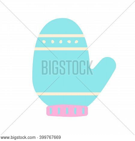 Blue Mitten Flat Vector Abstract Element. Seasonal Warm Gloves. Winter Season Garment Rgb Color Clip
