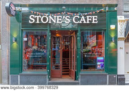 Amsterdam, Netherlands - May 15, 2018: Big Sign Stones Cafe At Windows In Amsterdam, Holland.