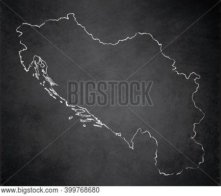 Yugoslavia Map Card Blackboard Chalkboard Blank Template