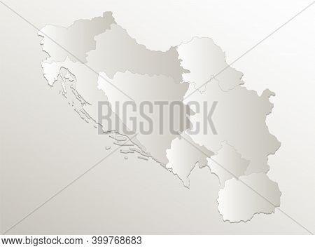 Yugoslavia Map, Administrative Division, Separates Regions, Individual States, Card Paper 3d Natural