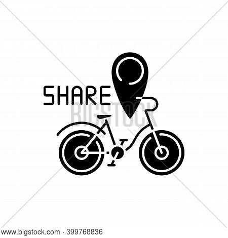 Bicycle Sharing System Black Glyph Icon. Service In Which Bicycles Are Made Available For Shared Use