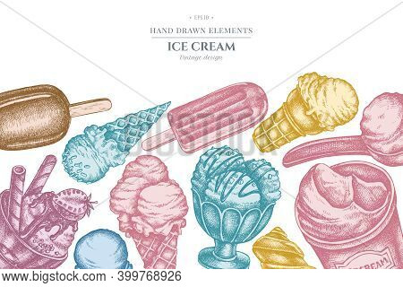 Design With Pastel Colored Ice Cream Bowls, Ice Cream Bucket, Popsicle Ice Cream, Ice Cream Cones St