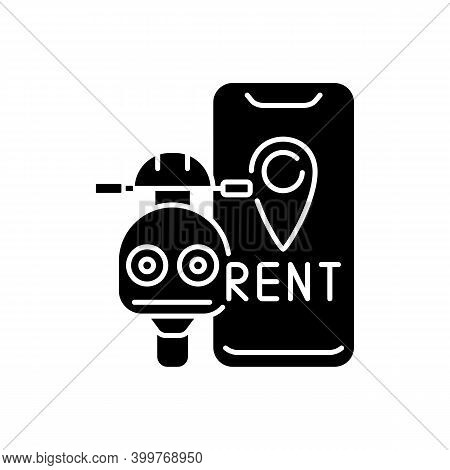 Scooter Rental Black Glyph Icon. Service In Which Electric Motorized Scooters Are Made Available To