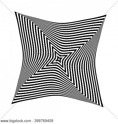 Op art design element. Twisting rotation movement. Abstract black and white striped lines pattern.