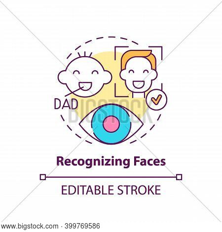 Recognizing Faces Concept Icon. Baby Look At Father. Development Milestone. Early Childhood Developm