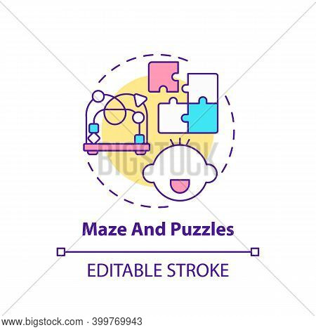 Maze And Puzzles Concept Icon. Toy To Develop Cognitive Skill, Logic. Baby Plays. Early Childhood De