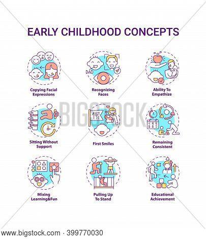 Early Childhood Development Concept Icons Set. Developmental Milestones. Baby Growth. Childcare Idea