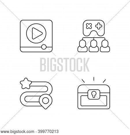 Video Gaming Linear Icons Set. Watching Ads, Multiplayer Mode, Game Progress And Player Inventory Cu