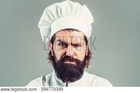 Portrait Of A Serious Chef Cook. Bearded Chef, Cooks Or Baker. Bearded Male Chefs Isolated