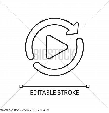 Restart Linear Icon. Media Player Interface Element, Play Again Button. Digital Entertainment Thin L