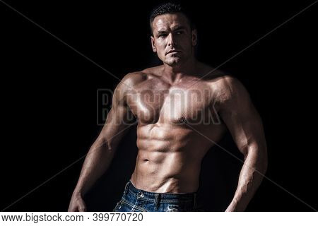 Torso With Six Pack And Ab Muscle. Abs And Biceps. Strong Brutal Guy. Sexy Torso. Handsome Big Muscl