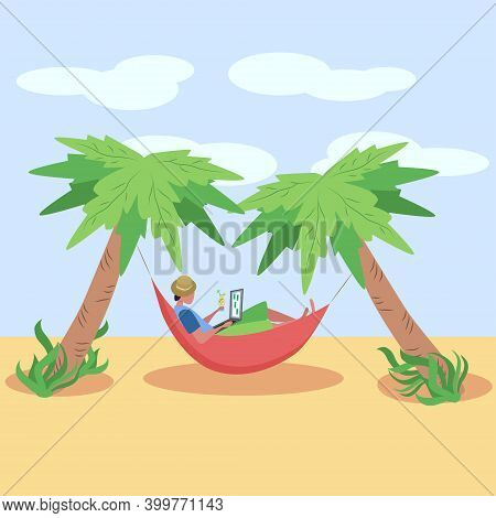 A Man Works At A Laptop While Lying In A Hammock On The Beach, Among The Palm Trees On The Seashore.