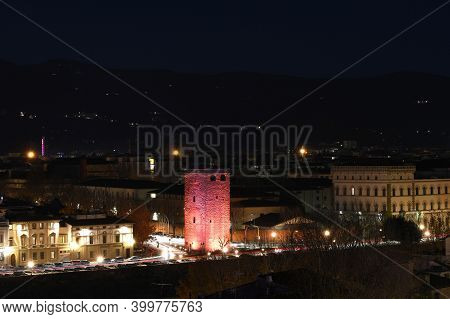 Florence, December 2020: Tower Of Zecca Illuminated By The F-light Festival 2020 During Christmas Se