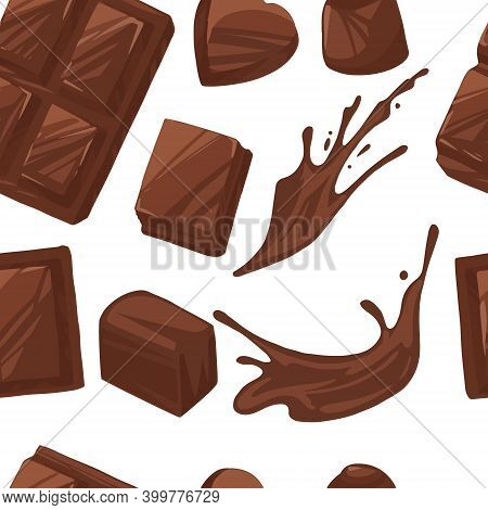 Seamless Pattern Of Chocolate Bar Pieces And Melted Chocolate Flowing Sweet Dessert Flat Vector Illu