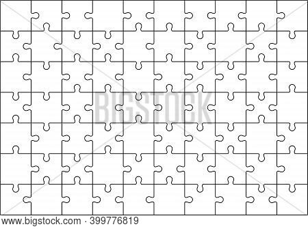 Jigsaws Puzzles Simple Pattern Isolated On White, Classic Puzzles Game Element Or Mosaic Part Connec