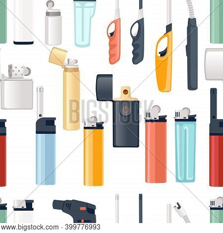 Seamless Pattern Of Metal And Plastic Lighter For Kitchen Or Cigarette Gas Lighter Smoker Accessory