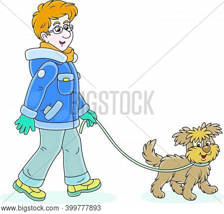 Young Man In Winter Clothes Walking In A Good Mood With His Cheerful Shaggy Dog, Vector Cartoon Illu