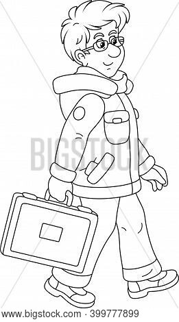Young Man In Winter Clothes Holding A Briefcase And Walking With Vigorous Strides In A Good Mood, Bl