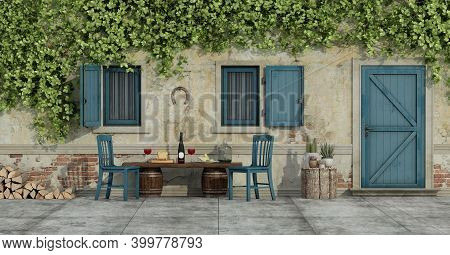 Courtyard Of An Old Country House With Chairs And Food On A Wooden Bench - 3d Rendering