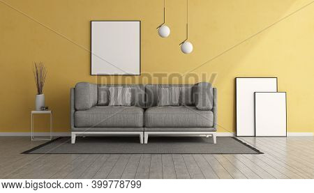 Yellow Living Room With Gray Sofa And Blank Picture Frame - 3d Rendering