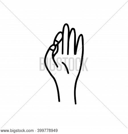 Mudra Of Knowledge. Position Of Fingers In Meditation. Gyan Mudra. Icon Black And White Vector Illus