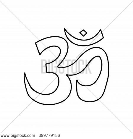 Sacred Sign Of The Sound Om In Meditation, Symbol In Hinduism And Buddhism. Icon Black And White Vec