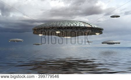 3d Illustration With Ufo Alien Spaceships Flying In Formation Over Water, For Futuristic, Fantasy An