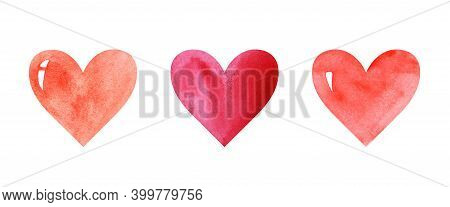 Watercolor Image With Three Hearts Of Different Shades Of Red Color. Even Row Of Colorful Hearts Iso