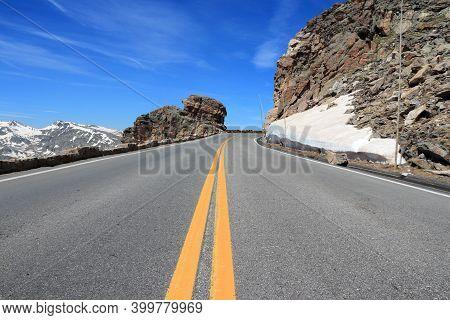 Colorado Road. Trail Ridge Road Of Rocky Mountain National Park In Colorado, Usa.